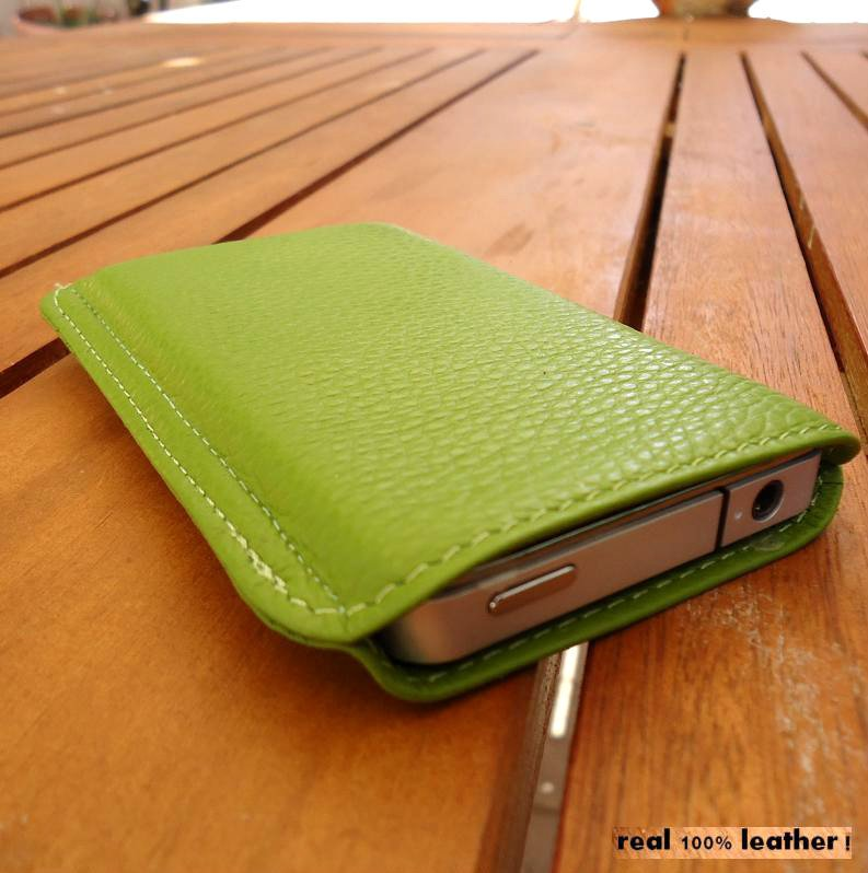 real leather Case cover purse pouch green fit for iPhone 4g PULL s 4 3 new 16 8 free shipping !