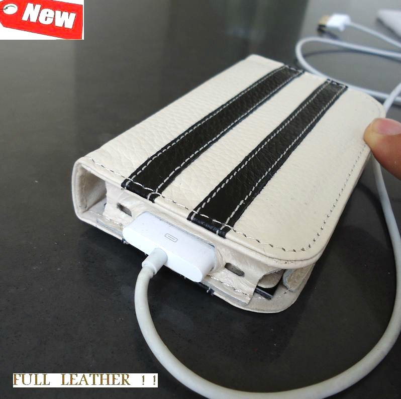 genuine FULL leather case fit iphone 4s book COVER 4 3 WALLET off white sport R free shipping !