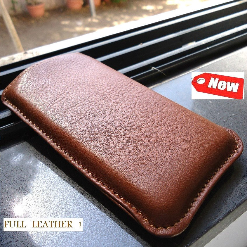 real leather case fit for iphone 4s cover purse pouch s 4 brown pull slim new id free shipping !