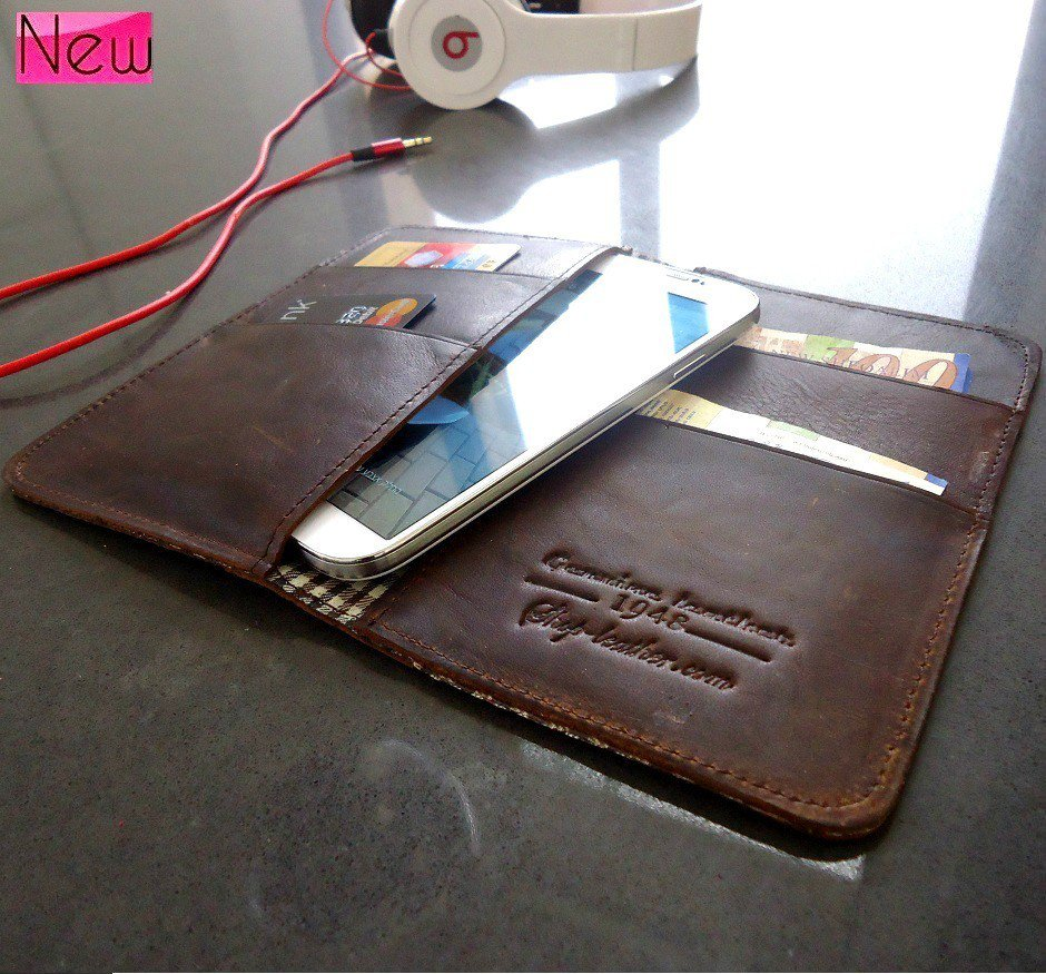 genuine vintage leather Case for Samsung Galaxy S4 4 book wallet handmade s3 htc
