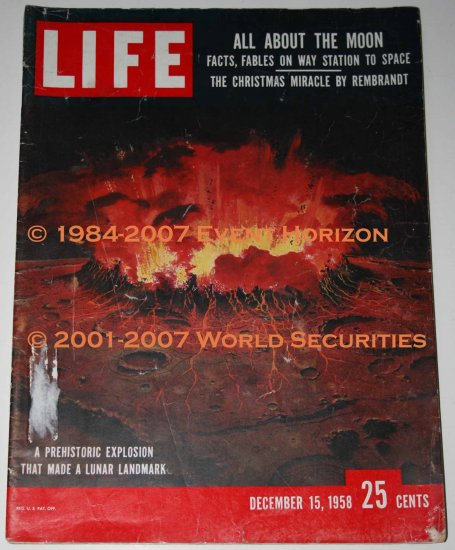 Life Magazine December 15 1958 All About The Moon Facts Fables On Way Station To Space Rembrandt