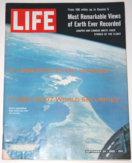 Life Magazine September 24 1965 Gemini 5 Cooper Conrad Most Remarkable Views of Earth Ever Recorded