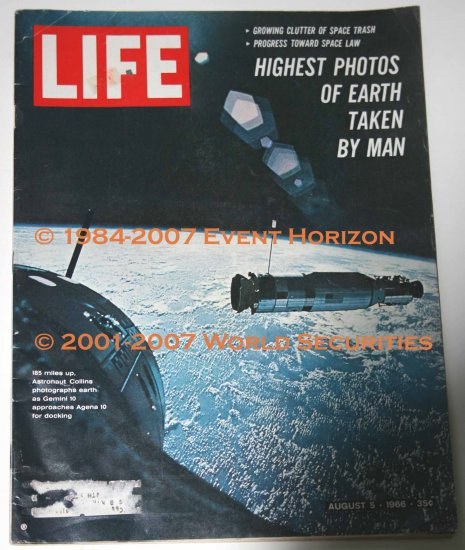 Life Magazine August 05 1966 Growing Clutter of Space Trash Gemini 10 Michael Collins