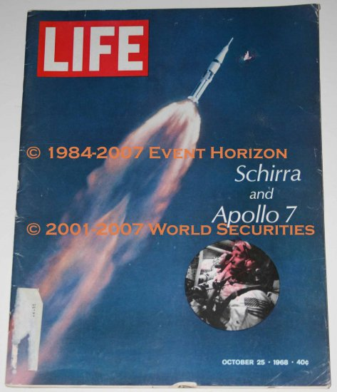 Life Magazine October 25 1968 Walter Schirra and Apollo 7