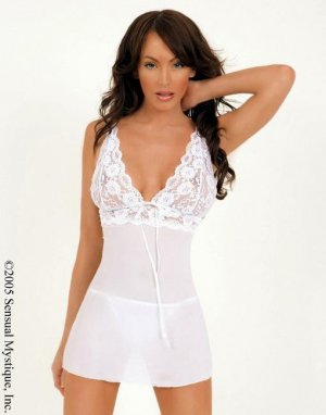 Stretch lace and chiffon babydoll with matching thong