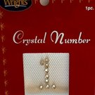 "Acrylic Rhinestone Monogram Letters & Number Iron-on Appliqué ~ 7/8"" ~ (Number ""1"")"