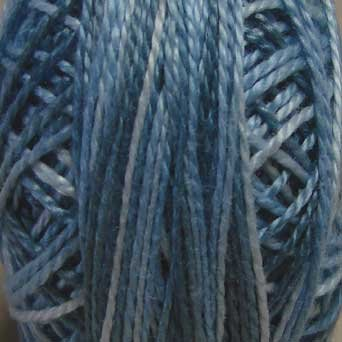 M68 Blue Clouds - Pearl Cotton size 8 - Valdani Variegated q1