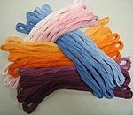 Hand Dyed Solid Cotton Floss Valdani - Set of 6  color tonalities 30 skeins Free Ship US xd