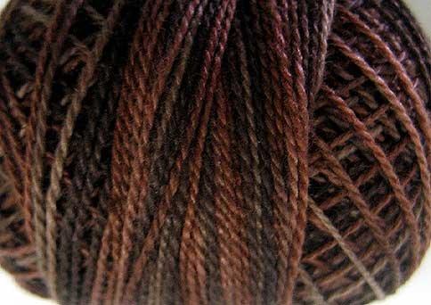 O547  Burnt Chocolate  Pearl Cotton size 12  Valdani Overdyed 0547 q3