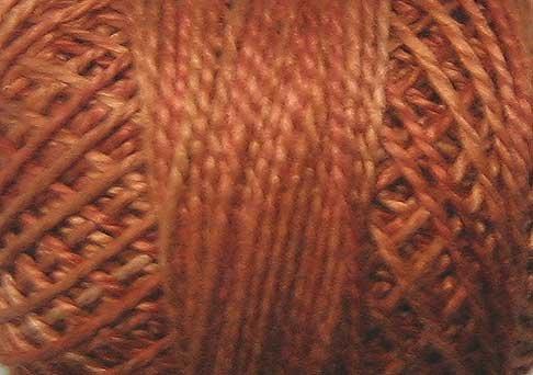 O506  Cinnamon Swirl  Pearl Cotton size 12  Valdani Overdyed 0506 q6