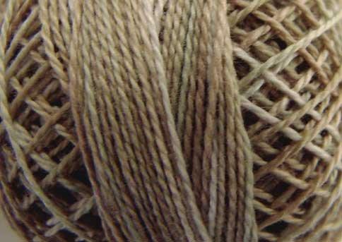 O545  Primitive White  Pearl Cotton size 12  Valdani Overdyed 0545 q6
