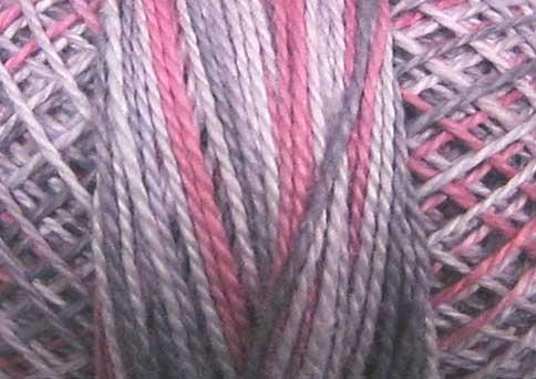 O542 Vintage Lavender Pearl Cotton size 12  Valdani Overdyed q1