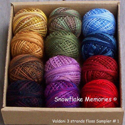 Our Snowflake Memories Gift Sampler #1 3 Strands Floss Valdani  q1
