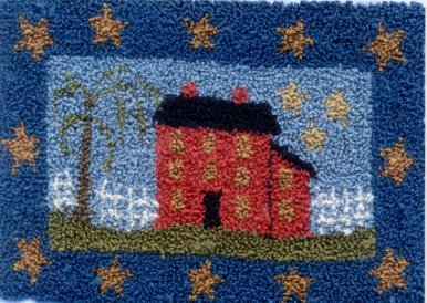 Saltbox On The Hill  pattern for Punchneedle Embroidery by Brenda Gervais q1