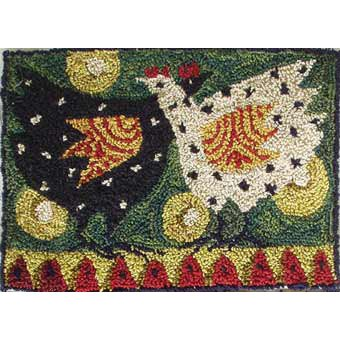 Hens on a Green Door pattern for Punchneedle Embroidery by Hooked On Rugs q1