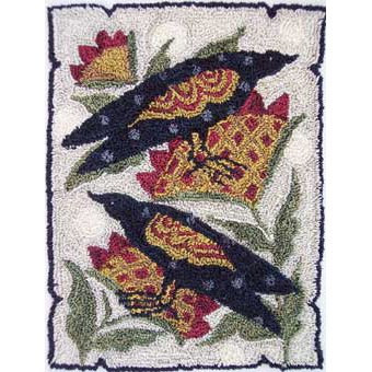 2 Crows with Sunflowers pattern for Punchneedle Embroidery by Hooked On Rugs q1
