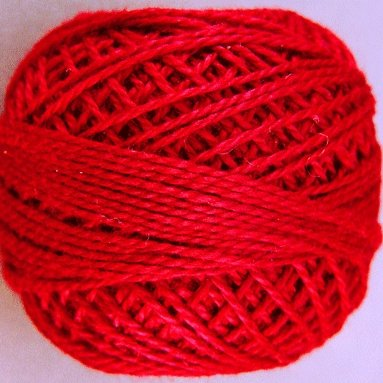 76 Christmas Red  Pearl Cotton size 8  Valdani Solid color q4