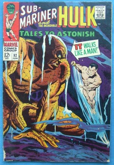 TALES TO ASTONISH SUB MARINER & HULK NO 92 1967 MARVEL COMICS