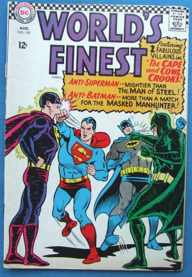 WORLD'S FINEST SUPERMAN & BATMAN NO 159  AUGUST 1966 DC COMICS