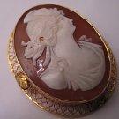 Antique Cameo Pin Vintage Victorian 14K Gold Pendant