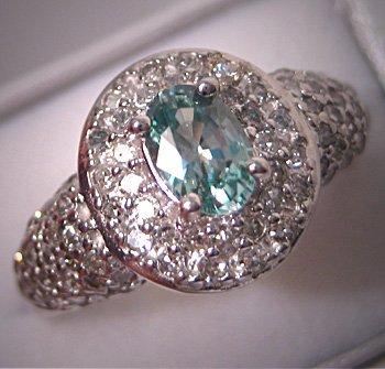 Vintage Aquamarine Diamond Ring Art Deco White Gold 14K