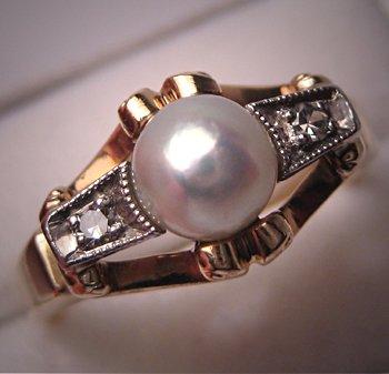 Antique Pearl Diamond Ring Platinum Vintage Art Deco
