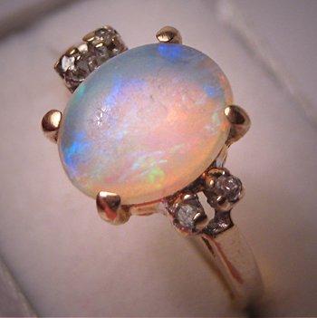 Vintage Australian Opal Diamond Ring 14K Gold Estate 5