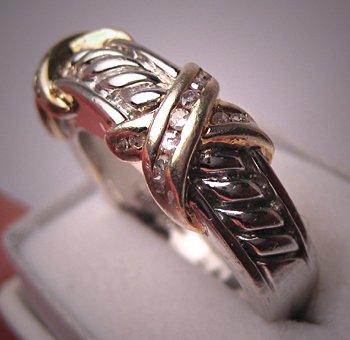 Designer Silver Gold Diamond Ring Band Estate Wedding 7