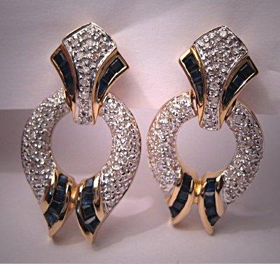 Estate Sapphire Diamond Earrings Fine Designer Jewelry