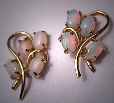 Vintage Opal Earrings Retro Art Deco Estate Jewelry