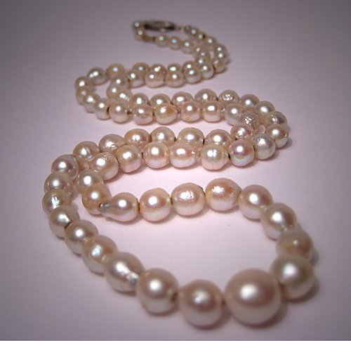 Antique Pearl Necklace Deco Strand White Gold Vintage