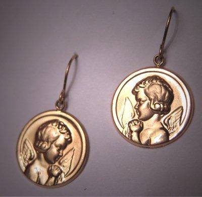 Vintage Cherub Angel Earrings 14K Gold Estate Jewelry