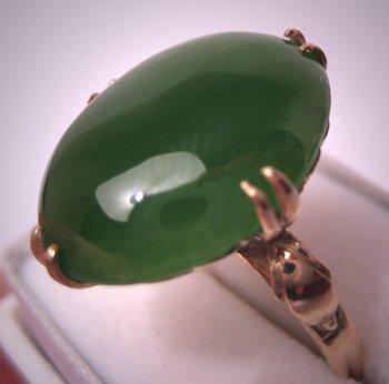 Antique Jade Ring 18K Gold Vintage Art Deco Jewelry 6