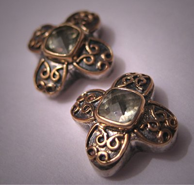 Designer Jewelry 18K Gold Silver Lemon Quartz Earrings
