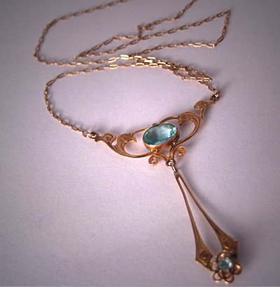 Antique Aquamarine Necklace Vintage Art Nouveau Gold Lavaliere