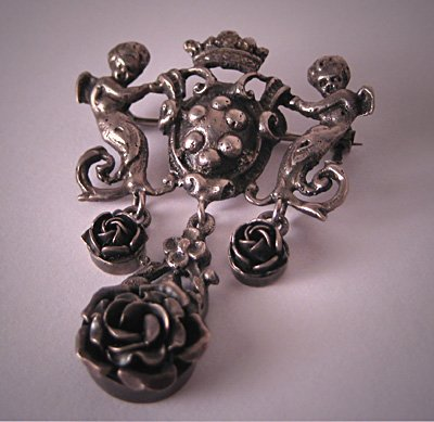Antique Cherub Pin Signed Peruzzi Silver Brooch Art Nouveau