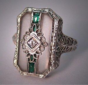 Antique Art Deco Ring Vintage Diamond Ring Rock Crystal