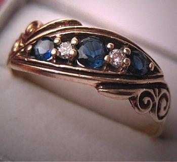 Vintage Wedding Band Antique Sapphire Diamond 14K Gold