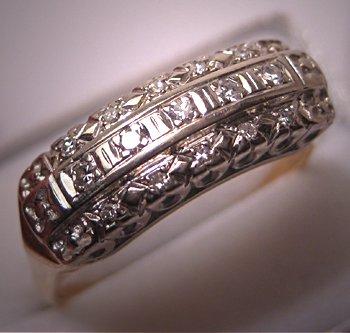 Antique Diamond Ring Vintage Wedding Band 3 Row White Gold Art Deco