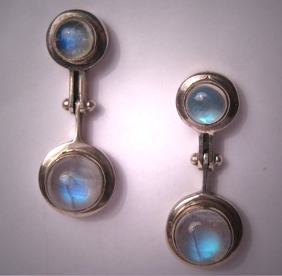 Moonstone Earrings Vintage Estate Modernist Drop Style