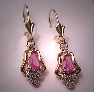 Vintage Pink Tourmaline Diamond Earrings 14K Gold Drop