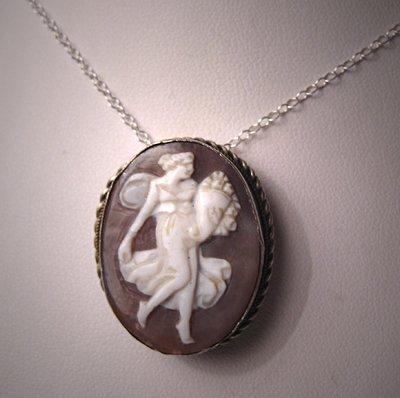 Antique Cameo Necklace Victorian Art Nouveau Period Silver