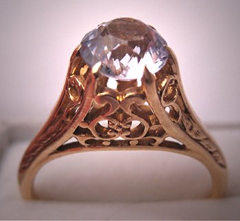 Vintage Wedding Ring Antique White Sapphire Art Deco Filigree