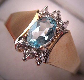 Estate Blue Topaz Diamond Ring Vintage Retro Yellow Gold
