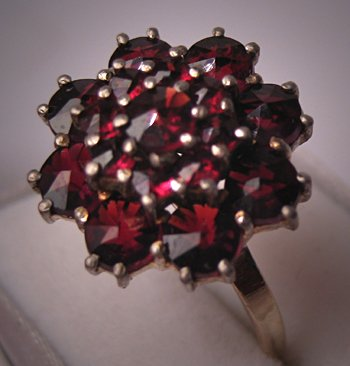 Antique Garnet Ring Victorian Rose Cut Bohemian Red Gold