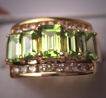 Fine Estate Jewelry Peridot Diamond Ring 14K Gold Deco Style