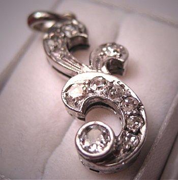 Antique Diamond Pendant Vintage Georgian Victorian Mine Cut Necklace