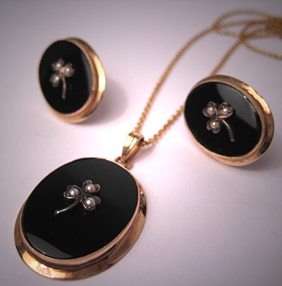 Antique Earrings Set Victorian Necklace Pearls Jet Gold