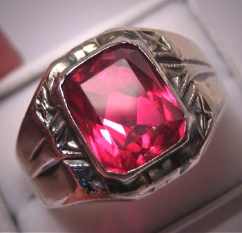 Antique Ruby Ring Vintage Mans Band Art Deco Mens Jewelry