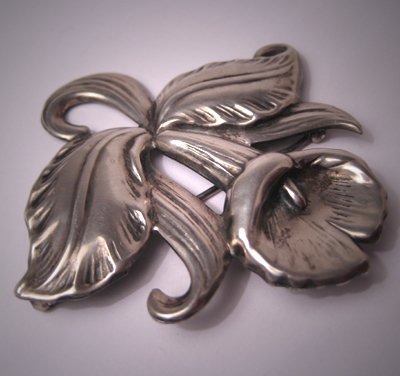 Vintage Sterling Hawaiian Orchid Pin Antique Silver Deco